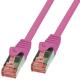 Logilink Câble réseau RJ45 droit 0,5 mètre CAT.6 S-FTP rose